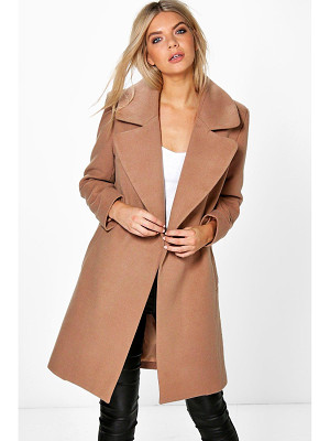 BOOHOO Poppy Oversized Collar Wool Look Coat