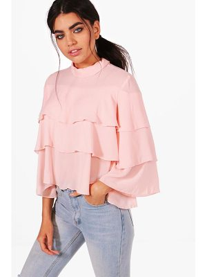 BOOHOO Poppy Tiered Ruffle Blouse