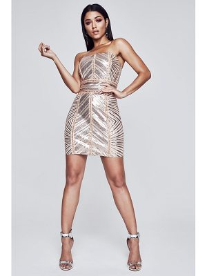 BOOHOO Premium Kyra Chevron Sequin Bandeau Dress