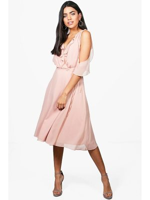 BOOHOO Rae Chiffon Frill Cold Shoulder Midi Dress