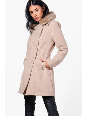 Boohoo Rebecca Faux Fur Collar Double Breasted Coat