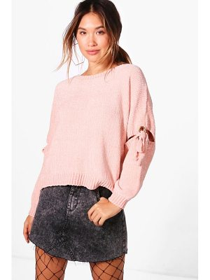 BOOHOO Rebecca Lace Up Detail Chenille Jumper