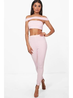 BOOHOO Rebecca Off Shoulder Crop & Trouser Co-Ord
