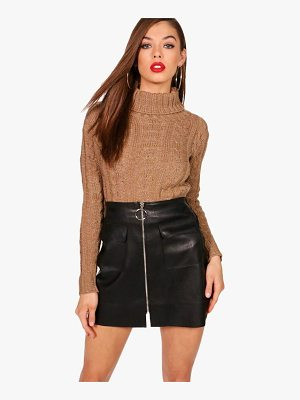 BOOHOO Ria Marl Cable Knit Chunky Crop Jumper