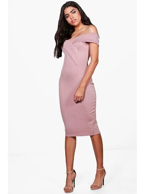 BOOHOO Rita Off Shoulder Detail Midi Dress