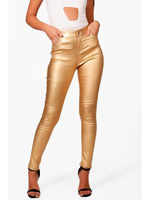 Boohoo High Rise Metallic Coated Denim Skinny Jeans