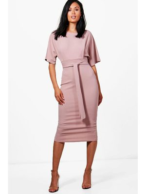 BOOHOO Roisin Tie Waist Formal Wiggle Midi Dress