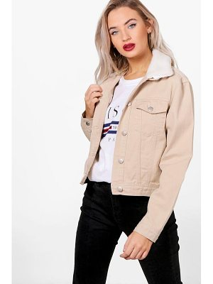 BOOHOO Rosa Slim Fit Borg Collar Denim Jacket