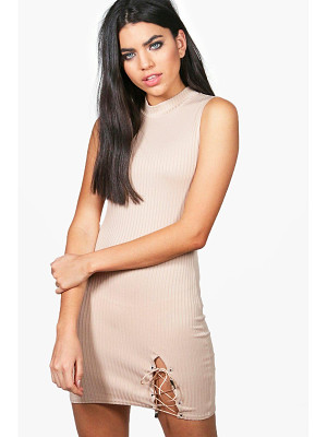 BOOHOO Rose Lace Up Side Ribbed Bodycon Dress