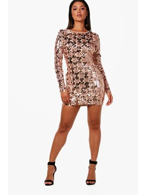 BOOHOO Rose Sequin Lace Up Back Bodycon Dress