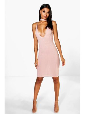 BOOHOO Rosie Ribbed Midi Bodycon Dress