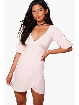 Boohoo Rosie Wrap Balloon Sleeve Bodycon Dress