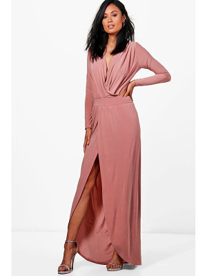 BOOHOO Rosina Wrap Open Back Maxi Dress
