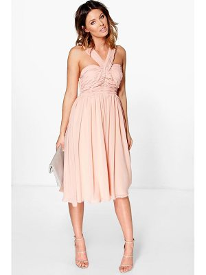 BOOHOO Rowa Pleated Strappy Midi Skater Dress