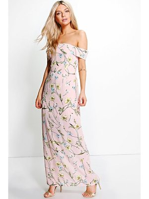 BOOHOO Rylie Chiffon Floral Off Shoulder Maxi Dress