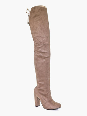 Boohoo Sadie Block Heel Tie Back Thigh High Boots