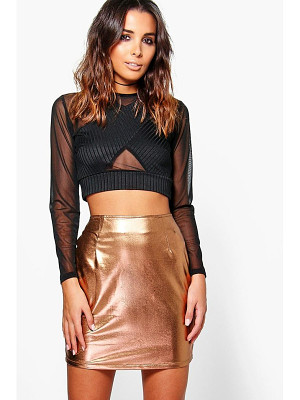 BOOHOO Saffron Metallic Bodycon Mini Skirt