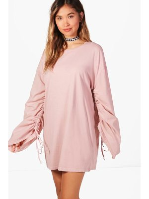 BOOHOO Sal Lace Up Ruched Sleeve Shift Dress