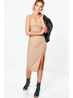 Boohoo Sally Metallic Rib Thigh Split Midi Dress