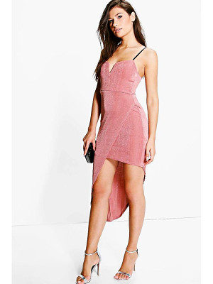 Boohoo Sally Slinky Plunge Neck Wrap Slit Midi Dress