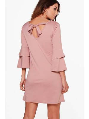 BOOHOO Sara Frill Sleeve Tie Back Dress