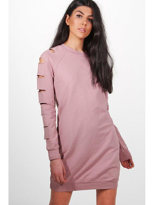 BOOHOO Sarah Cut Sleeve Distressed Sweat Dress