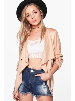 BOOHOO Sarah Suedette Waterfall Jacket