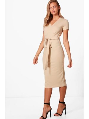 BOOHOO Sarah V-Neck Tie Waist Fitted Dress