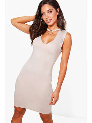 BOOHOO Sasha O Ring Detail Plunge Neck Bodycon Dress