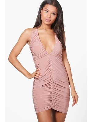 BOOHOO Sasia Ruching Detail Slinky Bodycon Dress