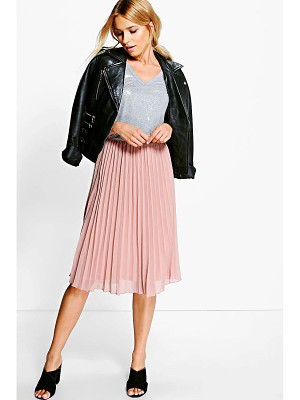 BOOHOO Savannah Chiffon Pleated Midi Skirt