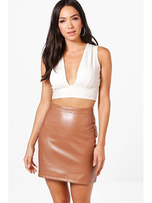 BOOHOO Scarlett A Line Leather Look Mini Skirt
