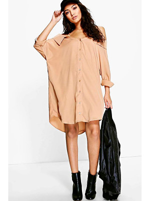 Boohoo Cold Shoulder Collar Shirt Dress