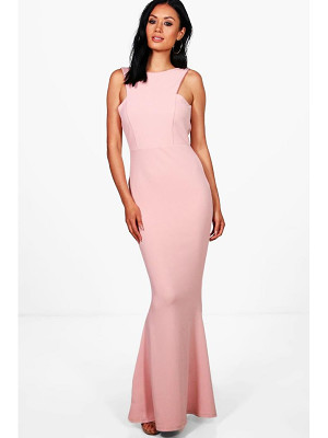 BOOHOO Sena Cutaway Neckline Fishtail Maxi Dress