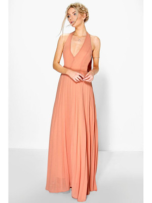 BOOHOO Sidra Chiffon Pleated Plunge Maxi Dress