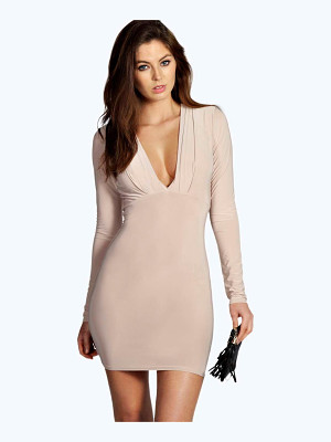 BOOHOO Silvia Plunge Neck Bodycon Dress