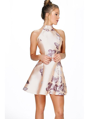 Boohoo Silvia Sateen Butterfly Print Fit and Flare Dress