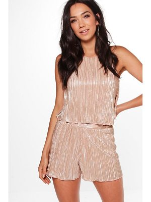 BOOHOO Simonne Pleated Swing Top & Shorts Co-Ord Set