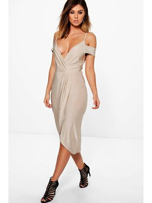 BOOHOO Sky Slinky Cold Shoulder Wrap Detail Midi Dress