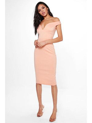 BOOHOO Skye Sweatheart Off Shoulder Bodycon Dress