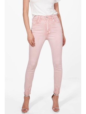 BOOHOO Sofia High Rise Distressed Hem Skinny Jeans