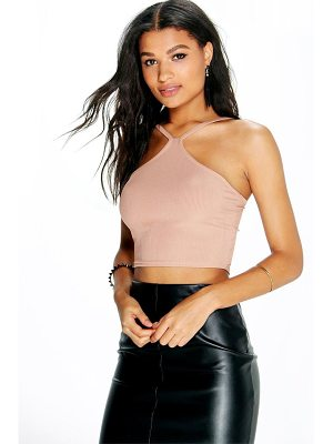 BOOHOO Sofia Basic Ribbed Cut Away Crop