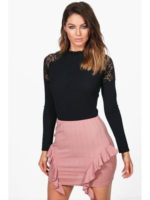 BOOHOO Sofia Ribbed Ruffle Side Mini Skirt
