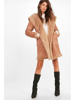 BOOHOO Sofie Bonded Faux Fur Hooded Coat