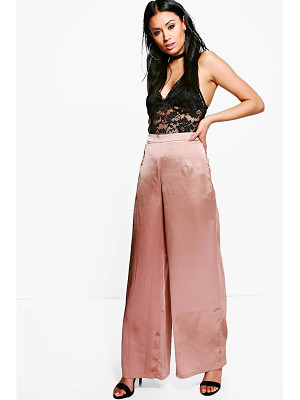 BOOHOO Sofie Satin Wide Leg Trousers