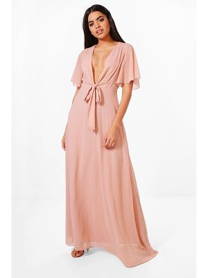 BOOHOO Sophia Bow Front Chiffon Maxi Dress