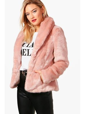 BOOHOO Sophie Boutique Shawl Collar Faux Fur Coat