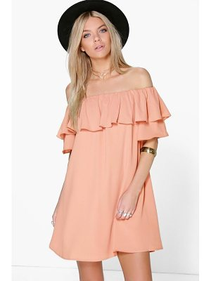 BOOHOO Sophie Ruffle Off Shoulder Woven Dress