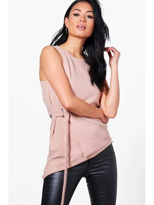 BOOHOO Sophie Wrap Front D Ring Top