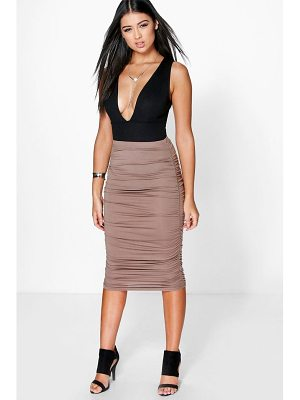 Boohoo Steph Ruched Sides Jersey Midi Skirt